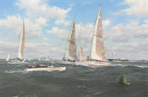 Making for the Start, Cowes week, 1985: the Admiral's Cup, with Outsider on the start line, and H.M.'s yacht Britannia in attendance beyond