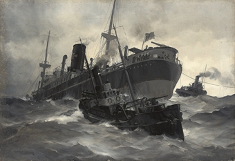 The stricken merchantman Ovingdean Grange under tow