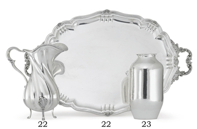 AN ITALIAN SILVER TEA TRAY AND
