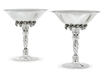 A PAIR OF DANISH SILVER TAZZAS