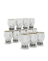 A SET OF TWELVE DANISH SILVER