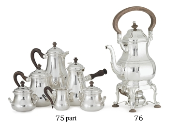 A FRENCH SILVER KETTLE-ON-STAN