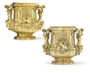 A PAIR OF FRENCH SILVER-GILT J