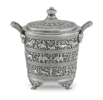 A RARE INDIAN COLONIAL SILVER BUTTER COOLER