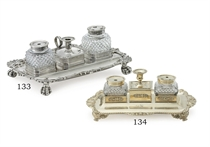 A GEORGE III SILVER INKSTAND