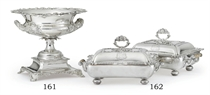 A PAIR OF REGENCY SILVER ENTREE DISHES AND COVERS ON SHEFFIELD-PLATED STANDS