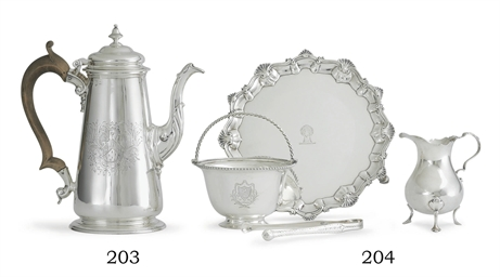 A GEORGE II SILVER COFFEE POT