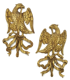 A PAIR OF GERMAN GILT OAK WALL