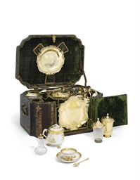 AN IMPORTANT GERMAN SILVER-GILT AND PORCELAIN NECESSAIRE