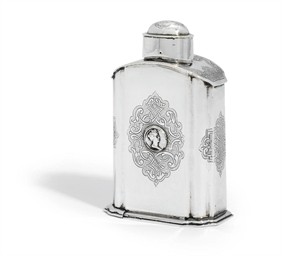A GERMAN SILVER TEA-CADDY