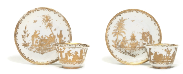 A PAIR OF MEISSEN GOLDCHINENSE