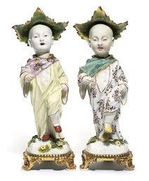 TWO MEISSEN GILT-METAL-MOUNTED