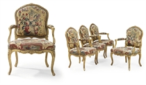 A SET OF FOUR LOUIS XV GILTWOOD AND BEAUVAIS TAPESTRY FAUTEUILS