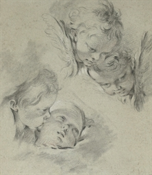 Four heads of putti