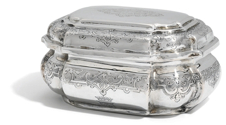 A GERMAN SILVER SUGAR-BOX AND