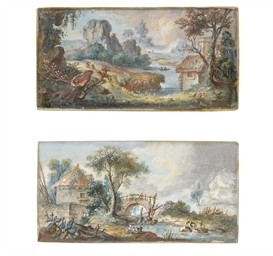 A landscape with a cottage, a