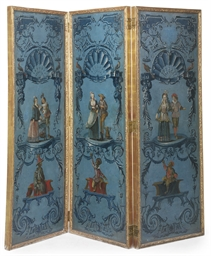 A FRENCH POLYCHROME-PAINTED AN