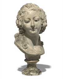 A FRENCH TINTED PLASTER BUST O