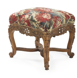 A REGENCE CARVED OAK TABOURET