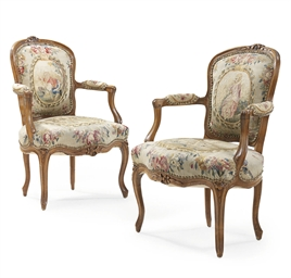 A PAIR OF LOUIS XV WALNUT AND