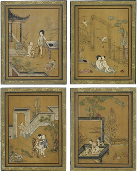 A SET OF EIGHT SOAPSTONE-INLAID 'EROTIC' PANELS. Enlarge & Zoom