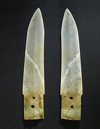 A FINE GREYISH-GREEN JADE BLAD