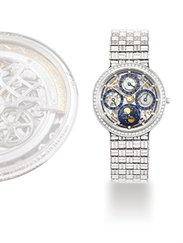 AUDEMARS PIGUET, QUANTIEME PERPETUAL AUTOMATIQUE SQUELETTE  PLATINUM AND DIAMOND-SET AUTOMATIC PERPETUAL CALENDAR SKELETONISED BRACELET WATCH WITH AGE AND PHASES OF THE MOON