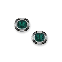 A PAIR OF EMERALD AND DIAMOND CUFFLINKS, BY MICHAEL YOUSSOUFIAN