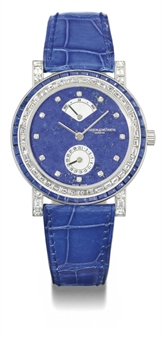 Vacheron Constantin. A very fine, rare and unusual 18K white gold, diamond and sapphire-set automatic wristwatch with power reserve, date, lapis lazuli and mother-of-pearl dial