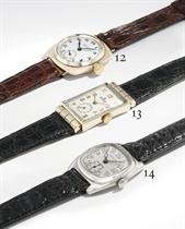 Hamilton A 14K white gold cushion-shaped wristwatch