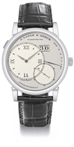 A Lange & Söhne A fine and rare platinum twin barrel wristwa