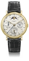 Audemars Piguet. A very fine and rare 18K gold perpetual calendar wristwatch with two-tone silvered dial and moon phases to 12 o'clock