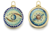 Gübelin. A very fine and rare 18K gold and cloisonné enamel openface automatic keyless lever watch