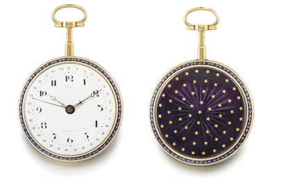 Lepine. A very fine and rare 18K gold and enamel openface à toc quarter repeating watch with date and virgule escapement