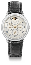Urban Jürgensen. A fine and rare platinum limited automatic perpetual calendar wristwatch with moon phases