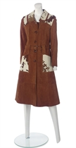 YVES SAINT LAURENT (1936-2008)  A SUEDE, BELTED COAT