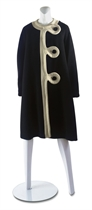 PIERRE CARDIN (B1922)  A BLACK WOOL BELL SHAPED COAT