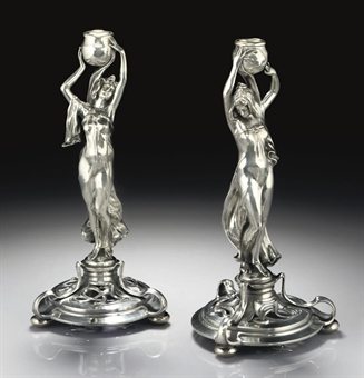 wmf a pair of pewter candlesticks model nos 169 169a circa 1900 20 21 design auction. Black Bedroom Furniture Sets. Home Design Ideas