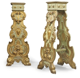 A PAIR OF ITALIAN PARCEL-GILT