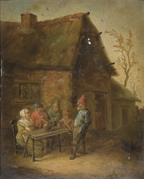 A village inn with peasants se