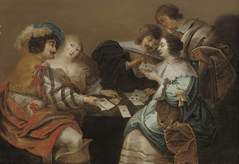 Elegant company playing cards in an interior
