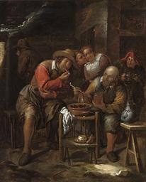 Peasants smoking outside a tav