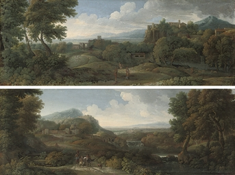 An extensive Italianate landscape with travellers on a track, a town beyond; and An extensive Italianate river landscape with drovers and their cattle on a track, a town beyond
