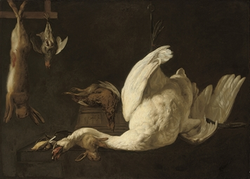 A still life of a swan suspend