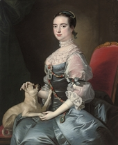 Portrait of a lady, three-quarter-length, seated in a blue satin jewelled dress with lace sleeves and collar, with a pug dog