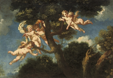 Putti disporting in a landscap
