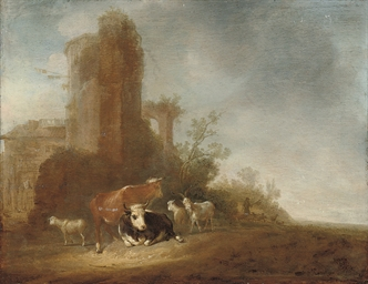 An Italianate landscape with c