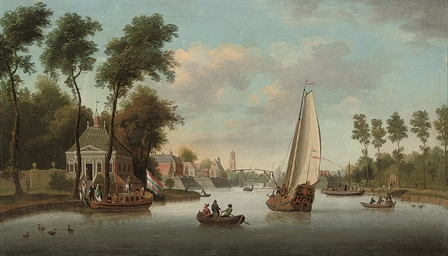 A river landscape with shippin