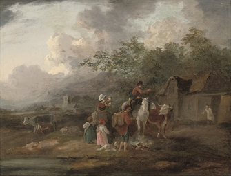 A wooded landscape with a fami