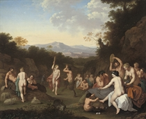 A bacchanal with nymphs and satyrs dancing and making music in a wooded landscape
